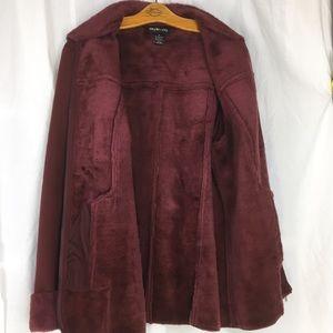 Style &Co wine Faux suede/lambs wool coat M